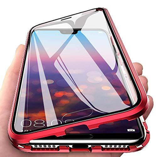Für Samsung Galaxy A70 Hülle, 【Vorn + Hinten 9H Glas, Stark Magnetisch】 Hülle mit Magnetischer Adsorptionskasten Metall Rahmen 360 Grad Komplett Schutzhülle für Samsung Galaxy A70 Stoßfest Cover