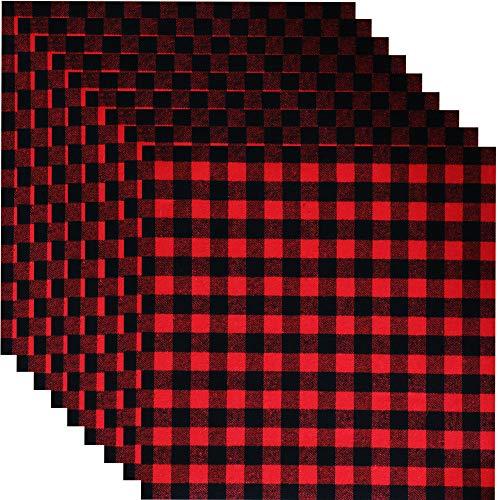 Windbom 12 Pack Buffalo Plaid Heat Transfer Fabric Sheets 12 x 12 Inch Fabric Printed Vinyl Sheets Adhesive Iron on Vinyl for Christmas Cloth Craft(Not HTV)