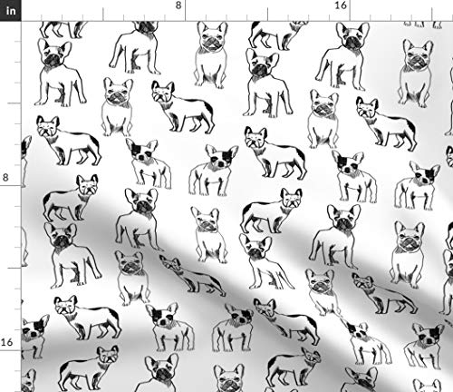 Spoonflower Fabric - French Bulldog Black White Dogs Frenchie Monochrome Cute Puppy Printed on Petal Signature Cotton Fabric Fat Quarter - Sewing Quilting Apparel Crafts Decor