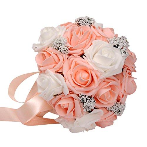 HLHN, bouquet da sposa/damigella, con decorazione di rose finte colorate in seta, perle, cristalli, per decorazione di casa, ufficio, scrivania, tavoli da giardino, festa all'aperto Orange