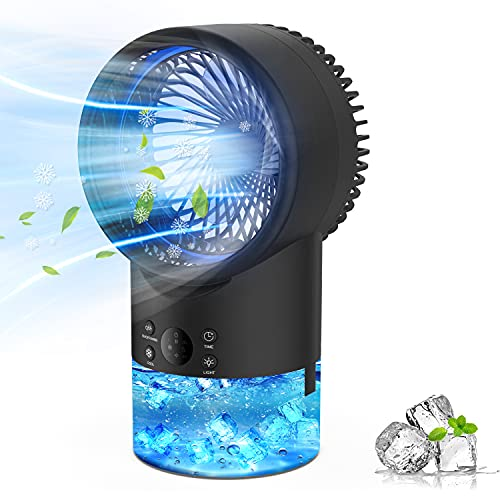 Aire Acondicionado Portatil Enfriador Aire, EEIEER 4 en 1 Mini Air Cooler Personal Aire Acondicionado Portátil Oficina Turbo-Ventilador Humidificador Purificador, 7 Luces LED 3 Velocidades Silencio