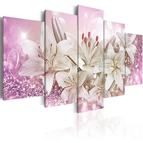 WSNDG HD abstracte moderne huisdecoratie canvas inkt schilderij olie schilderij muurschildering vijf stiksels drie kleuren bloem canvas schilderij zonder fotolijst 30x50/2 30x70/2 30x80 roze
