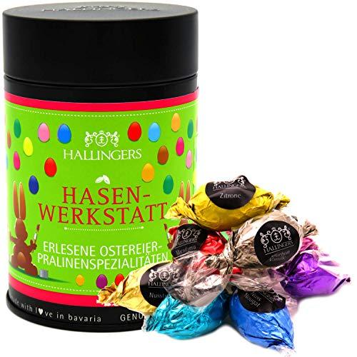 Hallingers 10 Pralinen-Ostereier handgemacht, mit/ohne Alkohol (150g) - Osterhasen-Werkstatt (Premiumdose) - zu Ostern
