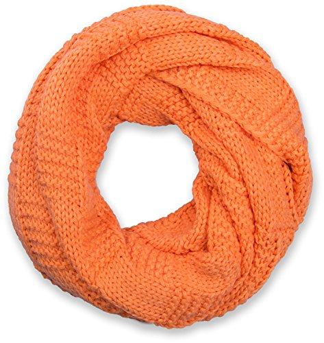 styleBREAKER Strick Loop Schal mit Patentmuster, Uni Feinstrick Schlauchschal, Winter Strickschal, Unisex 01018152, Farbe:Orange