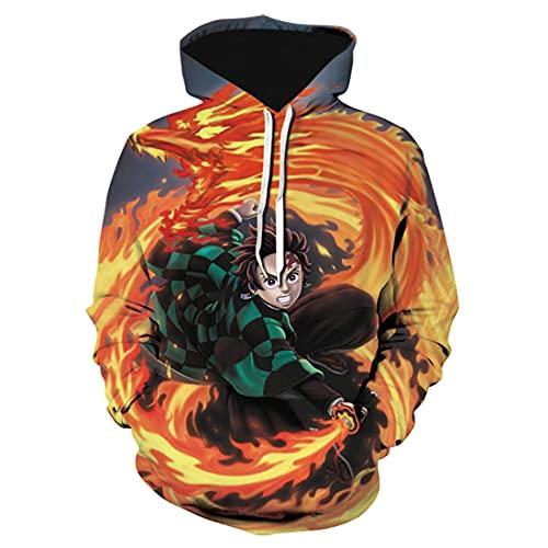 cshsb Demon Slayer Sudadera con Capucha con Estampado 3D Unisex Anime Jumper Carnival Costume Hoodie para Hombre Mujer,H,3XL-4XL