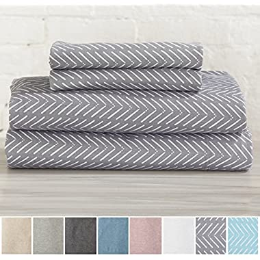 Great Bay Home Extra Soft Heather Jersey Knit (T-Shirt) Cotton Sheet Set. Soft, Comfortable, Cozy All-Season Bed Sheets. Carmen Collection By Brand. (King, Chevron Grey)