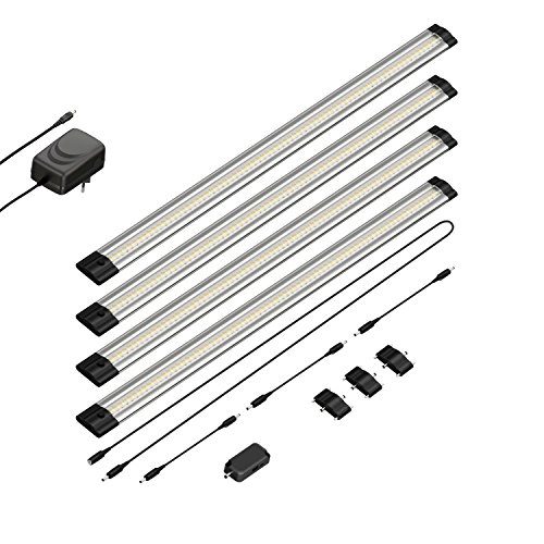 Parlat LED Lampada da sottopiano Siris, sensore a infrarossi, Sottile, 50 cm, 500lm, Bianca, Kit di 4 lampade