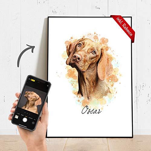 Dein Haustier als Portrait Artwork auf einem Poster mit Druck & Bilderrahmen (optional) – in A4 / A3 – Personalisierte Geschenke – Geschenke für Männer & Frauen – Haustier Geschenk – Fotogeschenke