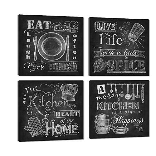 VIIVEI Quadri da cucina in tela a forma di lavagna, in bianco e nero, pannelli grandi con cornice, pronti da appendere, decorazione per la casa, 4 unità, A, 12x12inchx4