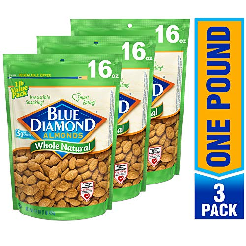Blue Diamond Almonds Raw Whole Natural 16 Ounce Pack of 3
