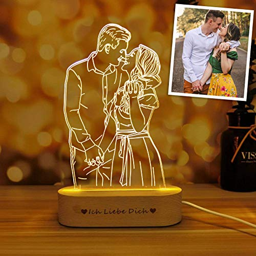 Magic Lunar Romantic Custom 3D Photo Lamp Glass Night Light Handmade Drawing Minimalist Line Art Picture Engraving Illusion Light Up Sign Plaque with Wood Stand, Anniversary Valentines Birthday Gift