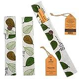 """Bamboo Step - Travel Kit pailles en Bambou - Gamme """"Signature"""" : 2 pailles en Bambou de qualité et 1 goupillon dans Un pochon Design en Tissu (Couleur : Feuilles)"""