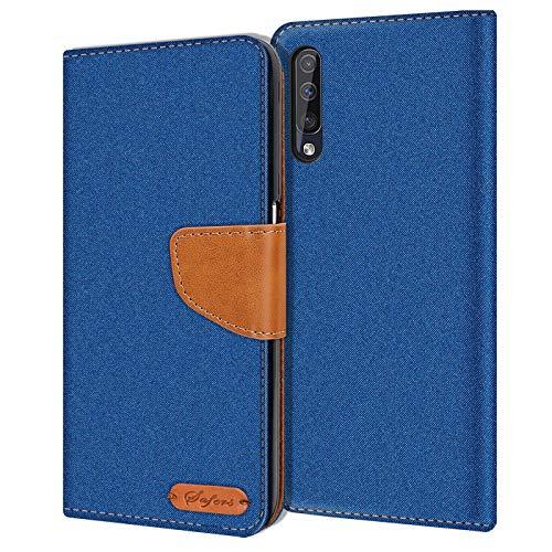Conie Samsung Galaxy A70 Hülle für Galaxy A70 Tasche, Textil Denim Jeans Erscheinungsbild Booklet Cover Handytasche Klapphülle Etui mit Kartenfächer, Blau
