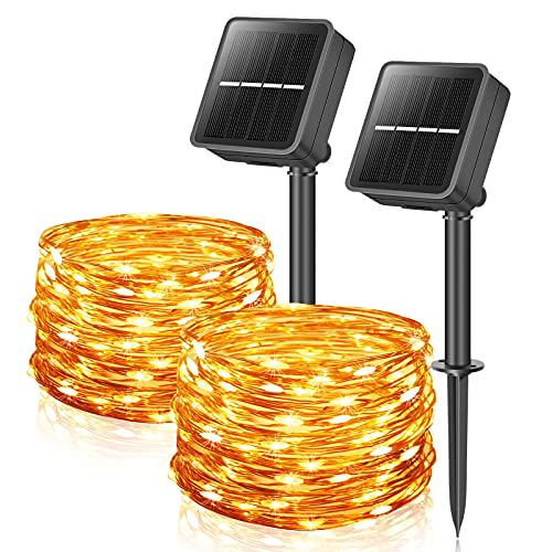 Solar Garden Lights, 12M 100LEDs 2 Pack Solar Fairy Light Waterproof 8 Modes Copper Wire Decorative Solar Powered Outdoor String Light for Tree Patio Tent Fence Summer Party Wedding Xmas (Warm White)