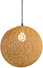 2Buy One Modern Colourful Lattice Wicker Rattan Pendant lamp Globe Ball Style Ceiling Pendant Light Lampshade for Home Dining(Gream)