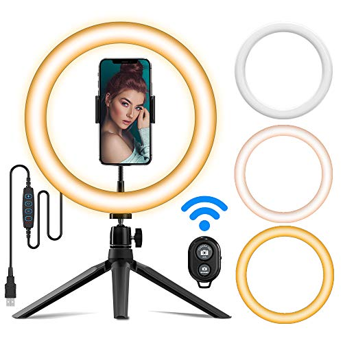 """Ringlight Flashes, 10""""Led Ring Light with Stand, Bluetooth Remote Shutter, 3 Colors,11 Brightness for Live Streaming YouTube Video Tiktok, USB Powered Phone External Flashes & Selfie Lights (Upgrade)"""