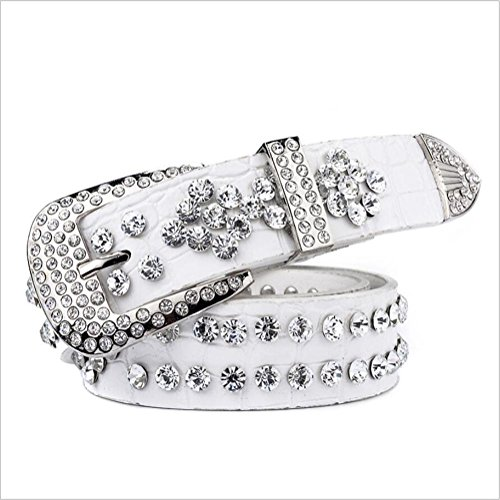 SZH&BELT Mode handgemachter Diamant Gürtel Jeans dekorativer Gurt , white