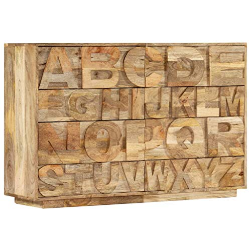 vidaXL Mangoholz Massiv ABC-Schrank mit 6 Schubladen Handarbeit Kommode Sideboard Anrichte Mehrzweckschrank Beistellschrank Standschrank 120x35x79cm