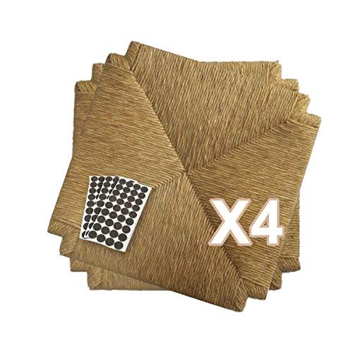 ZStyle Set SEDUTE Paglia MOD. 117 40x40 cm Seduta Sedile Ricambio Telaio Fondo per Sedie Impagliate Sedia + FELTRINI Omaggio (4 Pezzi)