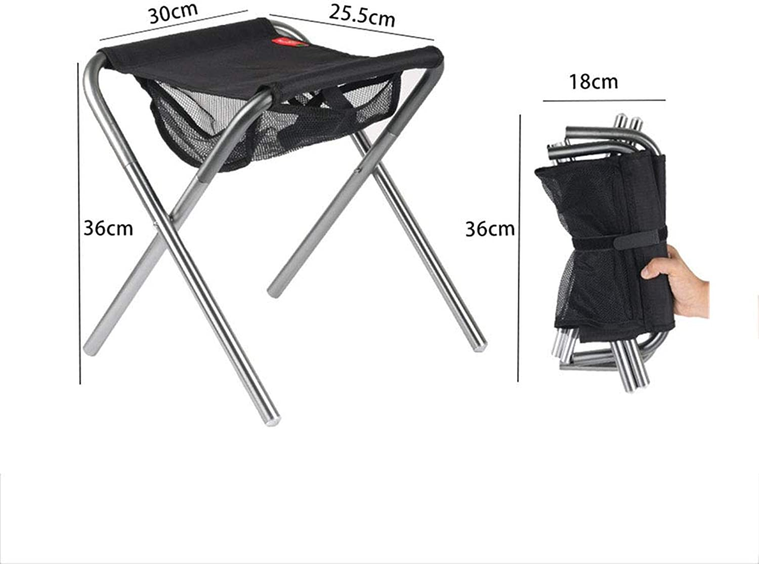 Folding Chair, Car Folding Stool Lightweight Camping Hiking Folding Step Stool Fishing Lawn Portable Stool (Size   25.5  30  36CM)