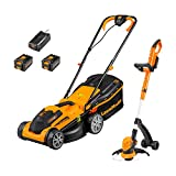 LawnMaster 24V 34cm Lithium-Ion Cordless Lawnmower and 25cm Grass Trimmer Pack with 2 battery packs