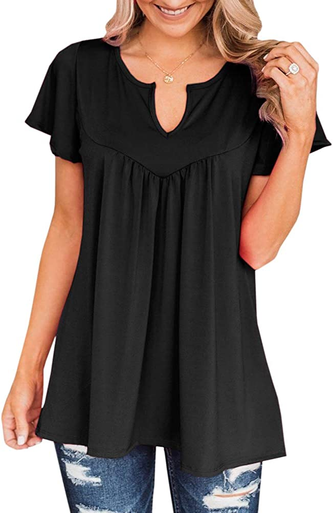 Womens Short Sleeve T Shirts Plus Size Round V Neck Casual Tunic Tops Solid Color Ruffle Loose Blouse S-3XL