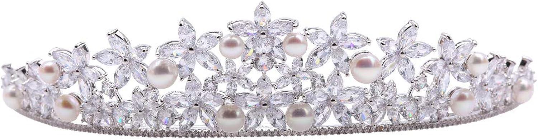 JYX Pearl Tiara Crown Natural White 68mm Flatly Round Freshwater Cultured Pearl Crown for Women Tiara Bridal Hair Birthday Party Crown