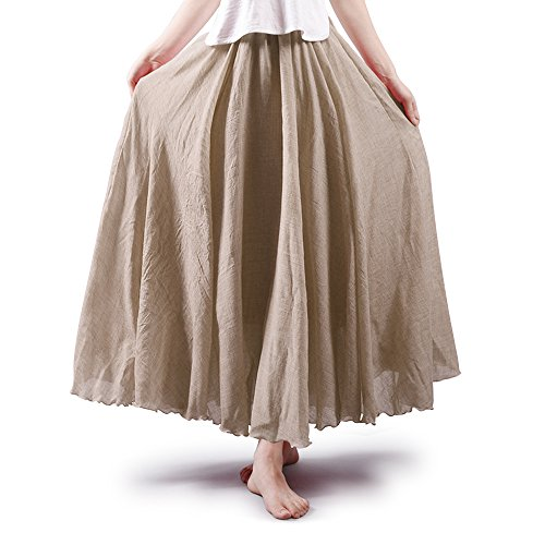 OCHENTA Women's Light Bohemian Flowy Full Circle Long Maxi Skirt Off White 105CM