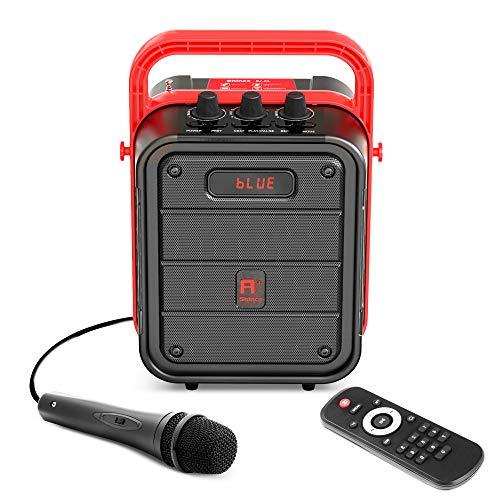 Shinco - Máquina de karaoke portátil con micrófono, altavoz Bluetooth con radio FM, control remoto, grabación de audio, perfecta para fiestas