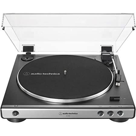 Audio-Technica AT-LP60X-GM Fully Automatic Belt-Drive Stereo Turntable, Gunmetal/Black, Hi-Fi, 2 Speed, Dust Cover, Anti-Resonance, Die-Cast Aluminum Platter