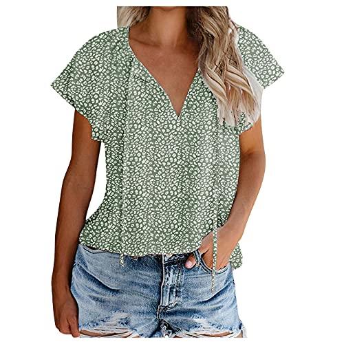 Camisa de Gasa Floral Linda con Cuello en V y