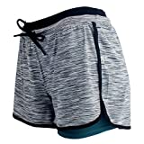 RIBOOM Women Workout Fitness Running Shorts Double Layer Active Yoga Gym Sport Shorts Slate Gray