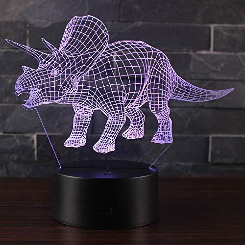 3D Illusion Nachtlampe Win-Y LED-Schreibtisch Tischlampe 7 Farb-Touch-Lampen-Ausgang Schlafzimmer-Büro-Dekor für Kindergeburtstag Weihnachtsgeschenk (Dinosaurier P1)