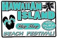 2個 ハワイアンアイランドビーチフェスティバルティンサインメタルプレートデコラティブサインホームデコレーションプラークサインサブウェイメタルプレート8x12inch メタルプレートブリキ 看板 2枚セットアンティークレトロ