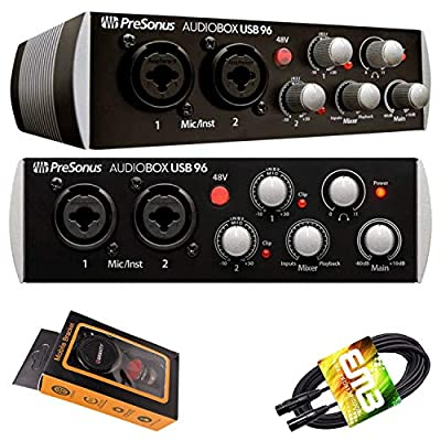 PreSonus AudioBox USB 96 Digital Audio Interface (Black) 96 kHz converters with USB Bus-Powered interface's Two Class A MIC/LINE/Instruments Preamps with Gravity Phone Holder and XLR Cable Bundle from PreSonus