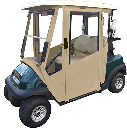 Doorworks Hinged Door Golf Cart Enclosures – Yamaha Drive & Drive 2 Sunbrella Canvas Cart Cover, Swinging Hard Doors, 4 Sided, Zippered Golf Cart Cover Fits Golf Bags, Utility Box, Rear Facing Seat