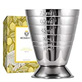 Homestia Measuring Cup Cocktail Jigger Stainless Steel Graduated Cup for Liquid or Dry Mini Espresso Shot Glass Up to 2.5oz, 5Tbsp, 75ml, Silver