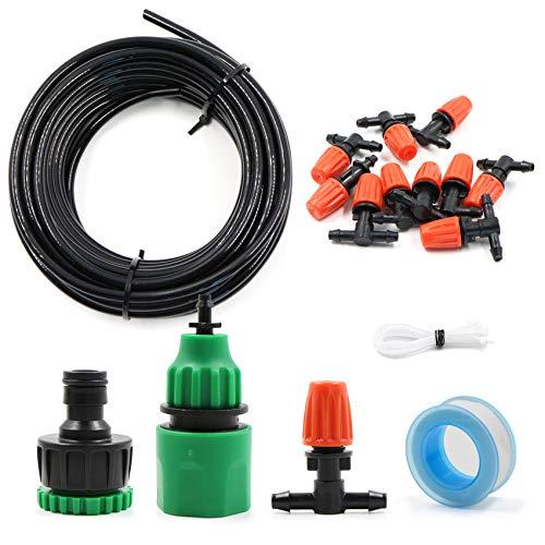 Kit per Irrigazione a Goccia, Sistema Irrigazione, 10M DIY Kit di Micro Irrigazione Automatico Irrigazione Sistema per Giardino Serra Impianto, Set Irrigazione Impianto Goccia Regolabile