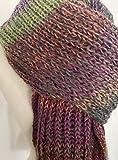 handgestrickter bunter Schal aus reiner Wolle, Patentschal, Oversize, Unisex, herbstlicher Farbverlauf