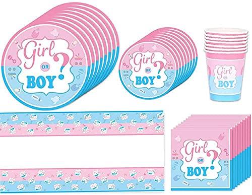 Yhuasia Stoviglie Boy or Girl Stoviglie, 71 Pezzi Baby Shower Gender Reveal Party, Boy or Girl Festa Decorazione Kit, Piatti, Tazze, Forchetta, Tovaglioli, Striscioni, per Forniture Feste Baby Shower