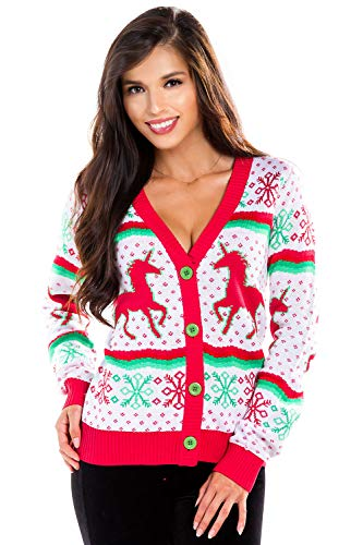 Tipsy Elves White Ugly Christmas Sweater Cardigan for Women - Cute Fair Isle Red and Green Pattern Size Large