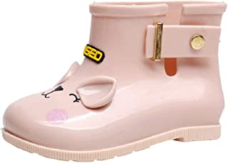 Toddler Baby Girls Rain Boots Rubber Rain Shoes with Buckle Kids Children Cut Bow Rain (0-6.5T) by Lowprofile