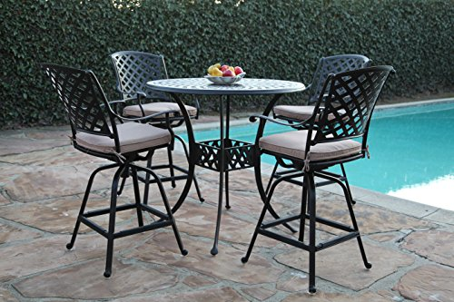 Kawaii Collections Outdoor Patio 5 Piece Cast Aluminum 42' Bar Table Set with 4 Swivel Bar Stool cbm1290