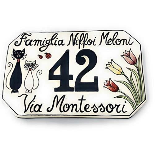 CERAMICHE D'ARTE PARRINI- Künstlerische italienische Keramik, Hausnummer 20x13 individuelle Dekoration Katzen, Fliesen handgemacht in Italien Toscana