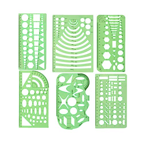 SUPVOX 6 Stücke Schablone Zeichenschablonen Kunststoff Stanzschablone Stanzformen für DIY Bullet Journal Album Scrapbooking Papier Karte Kunst Deko (grün)
