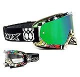 Two-X Race Masque de Cross Vert Effet Miroir–Lunettes Motocross MX Enduro...