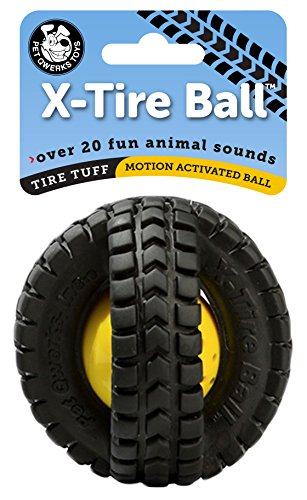 Pet Qwerks Animal Sounds X-Tire Ball Dog Toy - Rugged Tires with a Sound Ball in the Center, Interactive Toys that Make Noise, Treat Toys for Boredom   Best for MODERATE CHEWER, Small Dogs & Puppies