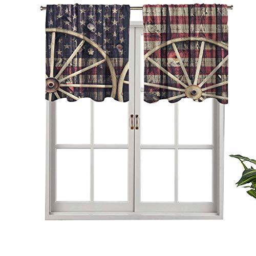 Hiiiman Cortinas cortas y elegantes con bolsillo para barra, ruedas de carro antiguo con bandera americana en Retro, juego de 1, 137 x 45 cm, decoración para cuarto de baño, dormitorio, sala de estar