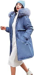 Zipper Down Coat for Womens Winter, Long Sleeve Drawstring Belt Jacket Overcoat Outwear with Faux Fur Hood