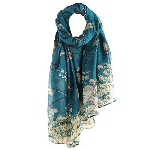 Valentinstag! Schals Damen, ABsolute Vintage Frauen Floral Bedruckte Lange Schal Warm Wraps Große Tücher (90cm*180cm, Blau)